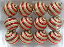 Winterland WL-ORN-12PK-REGO - Red Ball Ornament With Gold Glitter Line Design 12Pk