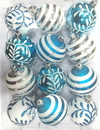 Winterland WL-ORN-12PK-SFLN-AQ - Aqua And White Ball Ornament With Snowflake And Line Glitter Design