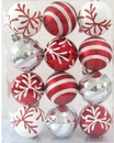 Winterland WL-ORN-12PK-SFLN-RE - Red And White Ball Ornament With Snowflake And Line Glitter Design