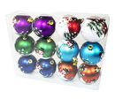 Winterland WL-ORN-12PK-SNMN - Assorted Colors Ball Ornament With Snowman Design 12Pk