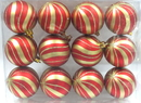 Winterland WL-ORN-12PK-SPL-GO - Red Ball Ornament With Gold Sprial Design 12Pk