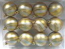 Winterland WL-ORN-12PK-SPL-SVG - Gold Ball Ornament With Silver Spiral Design 12Pk