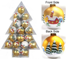 Winterland WL-ORN-17PK-TR 50MM X 17Pcs Christmas Plastic Decoration Ball, Color: Matte Gold W/Houses & Trees Design W/White Glitter