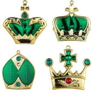 Winterland WL-ORN-4PK-CRN-GR 4pk Green Crown Ornaments