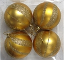 Winterland WL-ORN-4PK-SPL-GO Gold Ball Ornament With Sprial Design 4 Pack