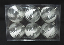 Winterland WL-ORN-6PK-CLTR - Clear Ball Ornament With Silver Glitter Tree 6Pk