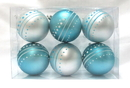 Winterland WL-ORN-6PK-DOT-AQ - Aqua And White Ball Ornament With Dot Design 6 Pack