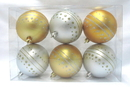 Winterland WL-ORN-6PK-DOT-GS - Gold And Silver Ball Ornament With Dot Design 6 Pack