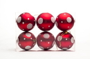 Winterland WL-ORN-6PK-DOT-RW Red and White Ball Ornament with Dot Design, 6 pack