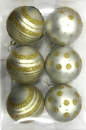 Winterland WL-ORN-6PK-LD-GO - White Ball Ornament With Gold Dot And Line Design 6Pk