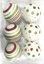 Winterland WL-ORN-6PK-LD-GRG - White Ball Ornament With Gold, Red And Green Dot And Line Design 6Pk