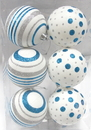Winterland WL-ORN-6PK-LD-SA - White Ball Ornament With Silver And Aqua Dot And Line Design 6Pk