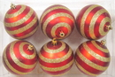 Winterland WL-ORN-6PK-LN-GO - Red Ball Ornament With Lines 6 Pack