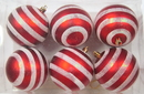 Winterland WL-ORN-6PK-LN-RE - Red And White Ball Ornament With Line Design 6 Pack
