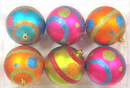 Winterland WL-ORN-6PK-MDGR - Mardi Gras Ball Ornament With Line And Dots Design 6 Pack