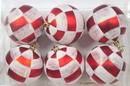 Winterland WL-ORN-6PK-PLD - Red And White Ball Ornament With Plaid Design 6 Pack