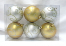 Winterland WL-ORN-6PK-SWL-GS - Gold And White Ball Ornament With Swirl Design 6 Pack