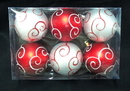 Winterland WL-ORN-6PK-SWL-RW - Red And White Ball Ornament With Swirl Design 6 Pack