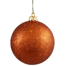 Winterland Wl-Orn-Blkg-100-Or-W - 100Mm Glitter Orange Ball Ornament With Wire