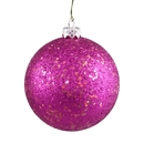 Winterland Wl-Orn-Blkg-100-Pi-W - 100Mm Glitter Pink Ball Ornament With Wire