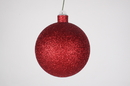 Winterland WL-ORN-BLKG-100-RE-W 100MM Glitter Red Ball Ornament W/Wire