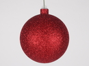 Winterland WL-ORN-BLKG-120-RE-W: 120mm Glitter Red ball ornament with wire