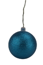 LEDgen WL-ORN-BLKG-150-AQ-W 150mm Aqua Glitter Ball Ornament