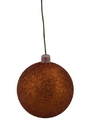 LEDgen WL-ORN-BLKG-200-OR-W 200mm Orange Glitter Ball Ornament with Wire