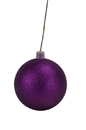 LEDgen WL-ORN-BLKG-200-PU-W 200mm Purple Glitter Ball Ornament with Wire