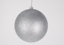 Winterland WL-ORN-BLKG-200-SLV-W - 200mm Glitter Silver ball ornament with wire