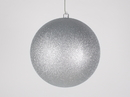 Winterland WL-ORN-BLKG-250-SLV-W - 250mm Glitter Silver ball ornament with wire