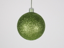 Winterland WL-ORN-BLKG-60-LG-W 60MM Glitter Lime Green Ball Ornament W/Wire