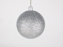 Winterland WL-ORN-BLKG-70-SLV-W 70MM Glitter Silver Ball Ornament W/Wire