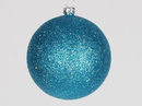 Winterland WL-ORN-BLKG-80-AQ-W 80MM Glitter Aqua Ball Ornament W/Wire