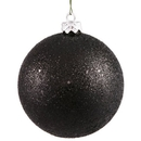 Winterland WL-ORN-BLKG-80-BK-W 80MM Glitter Black Ball Ornament W/Wire
