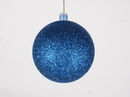 Winterland WL-ORN-BLKG-80-BL-W 80MM Glitter Blue Ball Ornament W/Wire