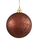 Winterland WL-ORN-BLKG-80-BR-W 80MM Glitter Brown Ball Ornament W/Wire