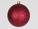 Winterland WL-ORN-BLKG-80-BU-W 80MM Glitter Burgandy Ball Ornament W/Wire