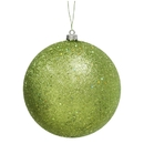 Winterland Wl-Orn-Blkg-80-Lg-W - 80Mm Glitter Lime Green Ball Ornament With Wire