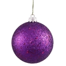 Winterland Wl-Orn-Blkg-80-Pu-W - 80Mm Glitter Purple Ball Ornament With Wire