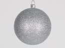 Winterland Wl-Orn-Blkg-80-Slv-W - 80Mm Glitter Silver Ball Ornament With Wire