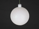 Winterland WL-ORN-BLKG-80-WH-W 80MM Glitter White Ball Ornament W/Wire