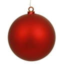 Winterland WL-ORN-BLKM-80-RE-UV 80MM Matte Red Ball Ornament W/Wire And UV Coating
