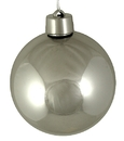 Winterland WL-ORN-BLKS-80-SLV-UV 80MM Shiny Silver Ball Ornament W/Wire And UV Coating
