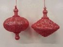 Winterland WL-OVDROP-2PK-RE 2PK RED OVAL DROP ORNAMENT