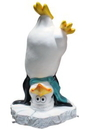 Winterland WL-PNG-FNY-AQ Funny Penguin Standing on his Head with an Aqua Hat & Scarf