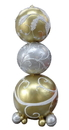 Winterland WL-POLYORN-06-GWS 6' Gold, White and Silver Stacked Ornaments
