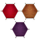 Velvet and PU Leather Folding Hexagon Dice Rolling Tray, Desktop Storage Box