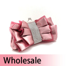 Toptie Crystal Decorated Organza Overlay Bow Clutch - Wholesale