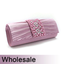 Toptie Faux Pearl and Crystal Decorated Stylish Satin Clutch - Wholesale